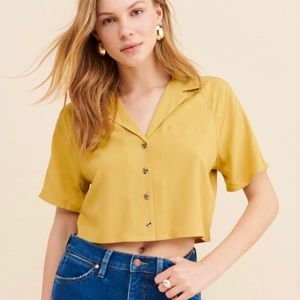 Urban Outfitters Noah Cropped Button-Down Shirt| M